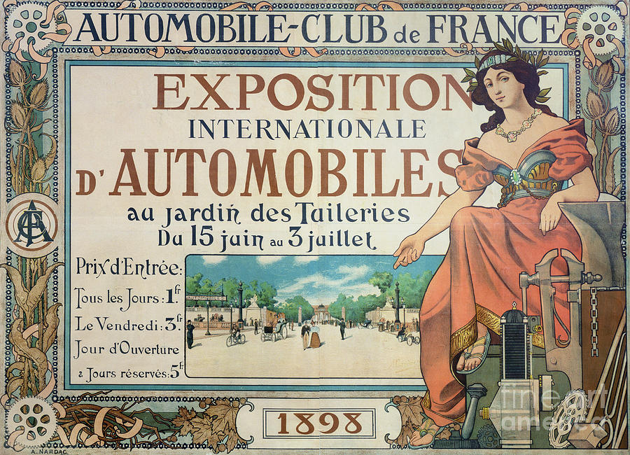 Vintage Drawing - Poster Advertising The Exposition Internationale Automobiles At The Tuileries Gardens 1898 by A Nardac
