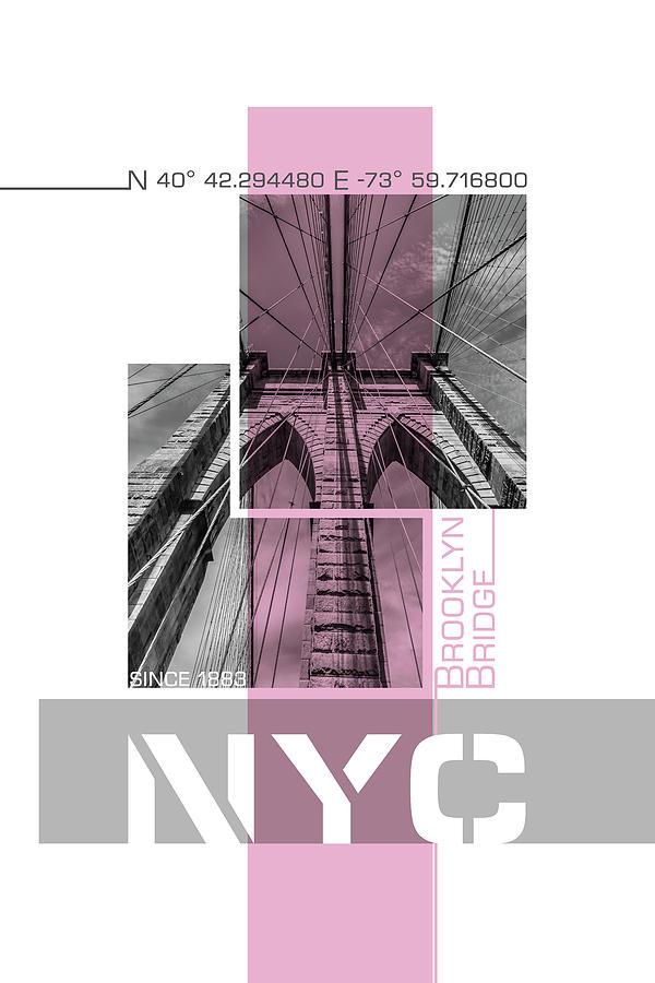 New York Photograph - Poster Art Nyc Brooklyn Bridge Details - Pink by Melanie Viola