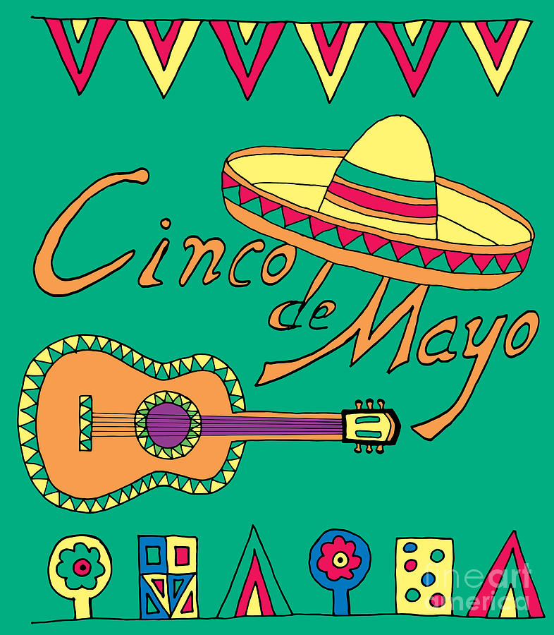 Symbol Digital Art - Poster For Fiesta Time With Colorful by Romas photo