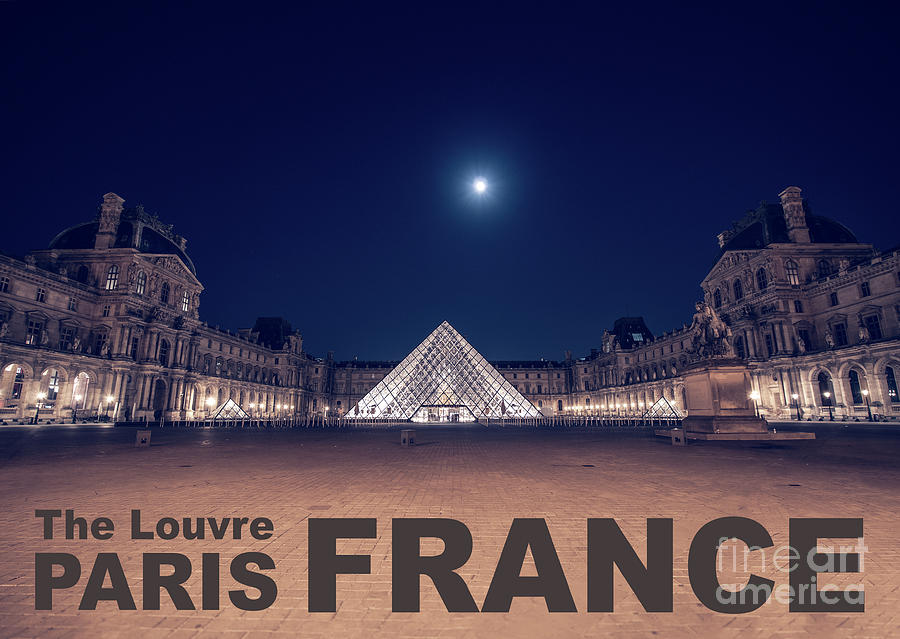 Poster of  the Louvre Museum at Night with Moon above the Pyrami by PorqueNo Studios
