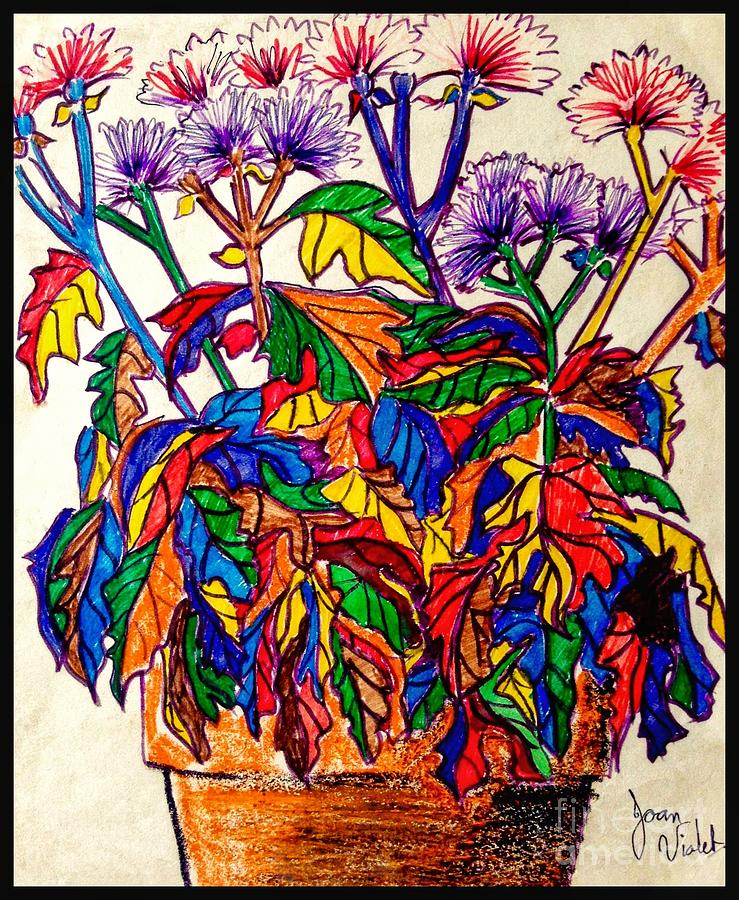 Potted Mums Oil Pastel by Joan-Violet Stretch