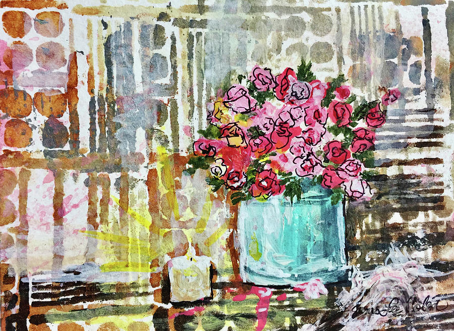 Pink Roses Mixed Media - Potted Roses with Candle by Janis Lee Colon