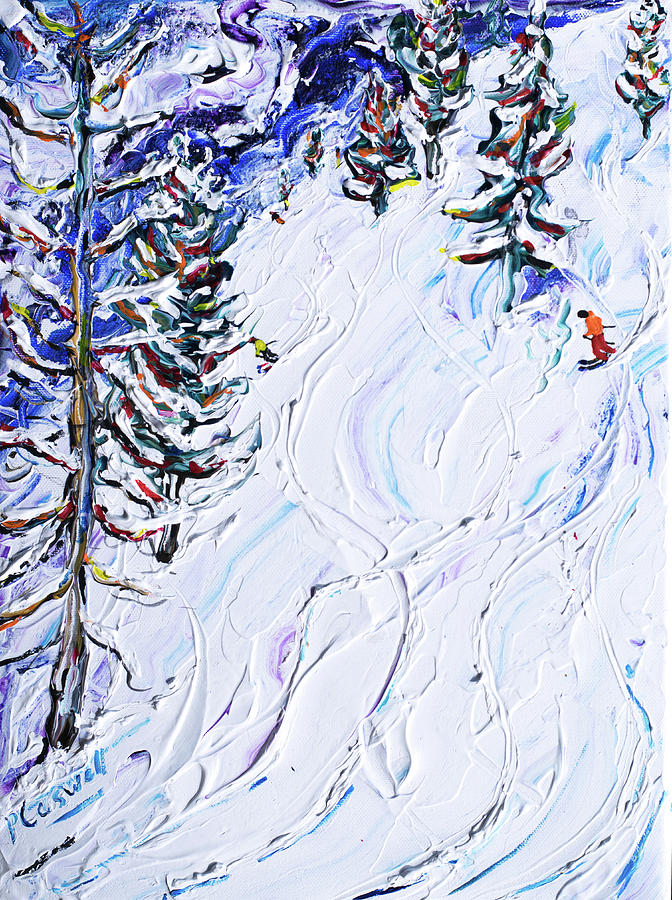 Powder at Les Arcs Ski Print by Pete Caswell