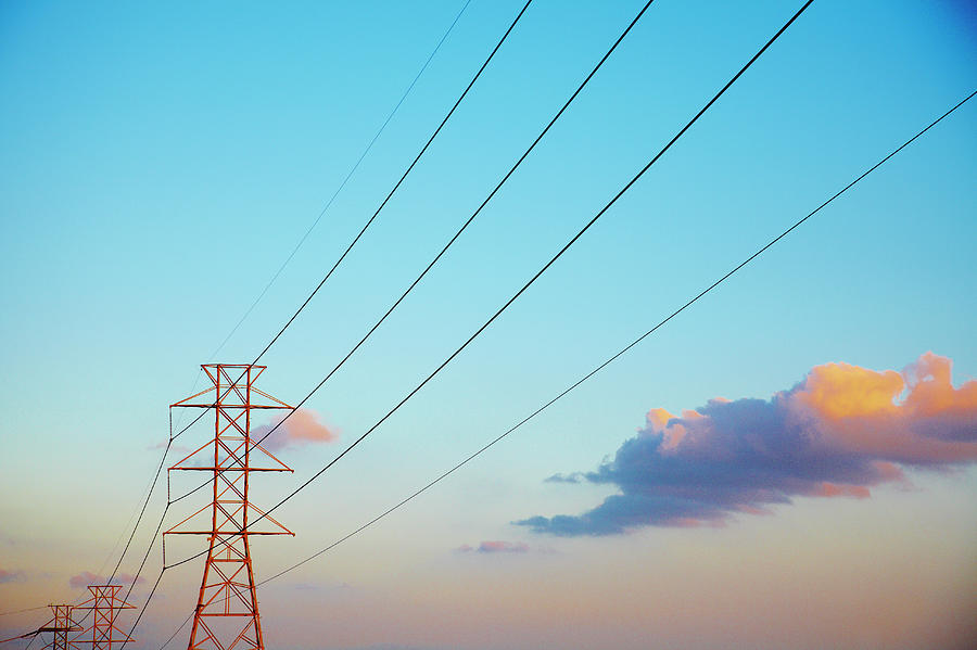 Power Lines And Blue Sky With Clouds Photograph by Thomas Northcut