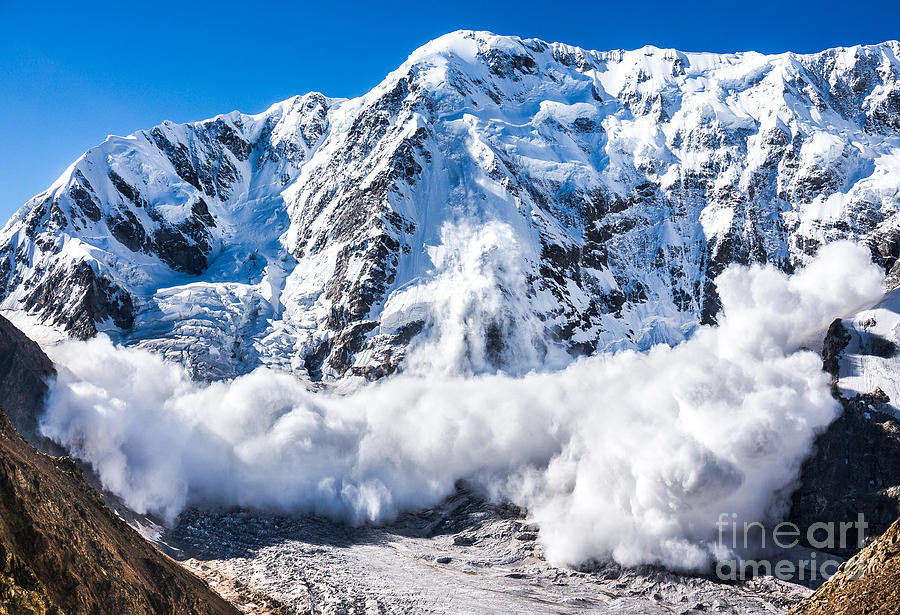 Expedition Photograph - Power Of Nature. Real Huge Avalanche by Lysogor Roman