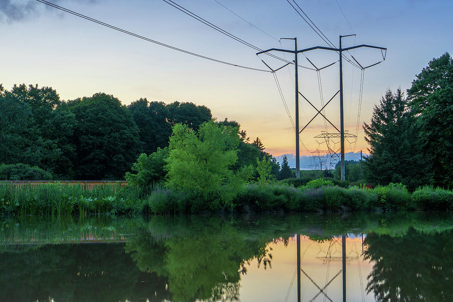 Power Pylons Over A River by Jason Fink