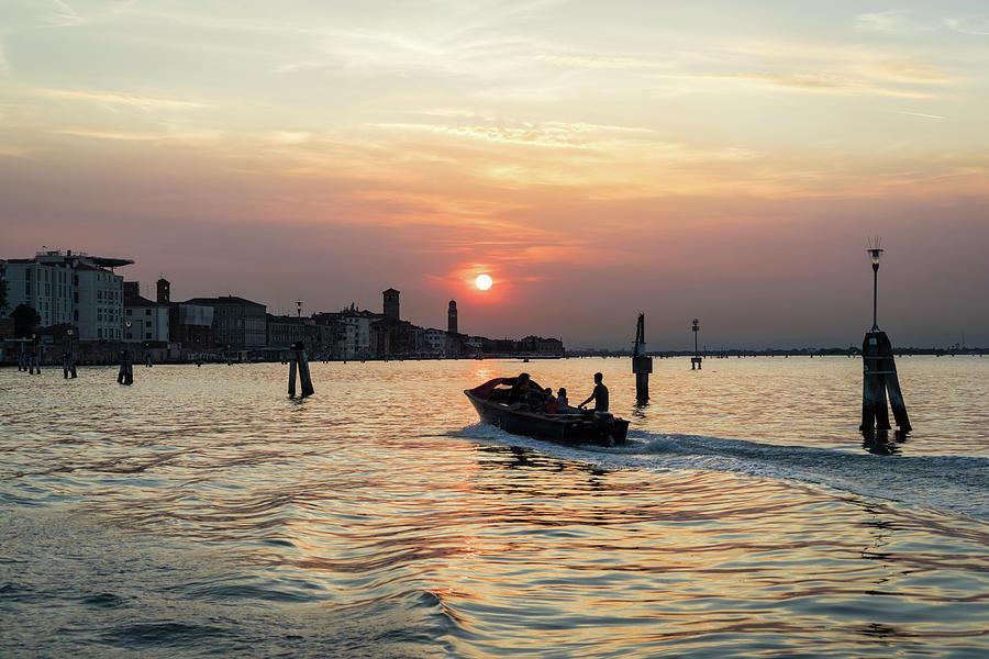 Powerboating to Venice Italy - Silky Venetian Lagoon at Sunset by Georgia Mizuleva