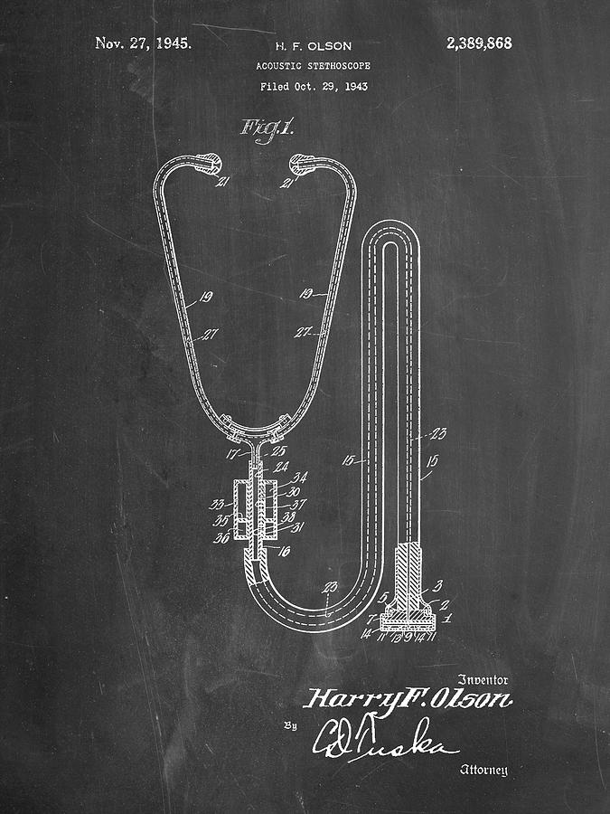 Pp1066 Chalkboard Stethoscope Patent Poster Digital Art By Cole Borders