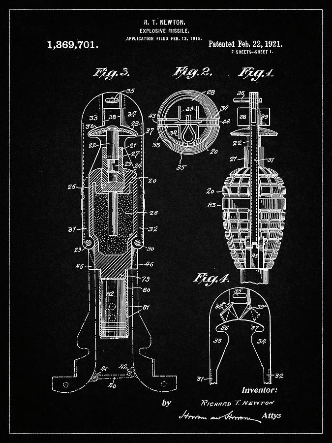 Design Digital Art - Pp12-vintage Black Explosive Missile Patent Poster by Cole Borders