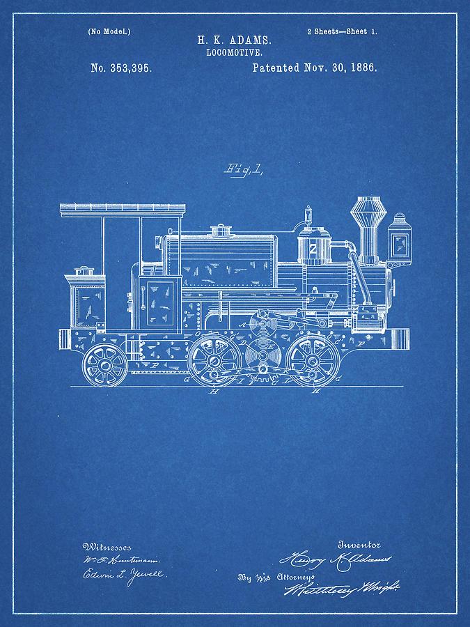 Train Wall Decor Digital Art - Pp122- Blueprint Steam Locomotive 1886 Patent Poster by Cole Borders
