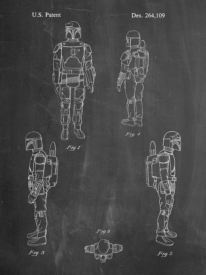 Star Wars Boba Fett Patent Print Chalkboard