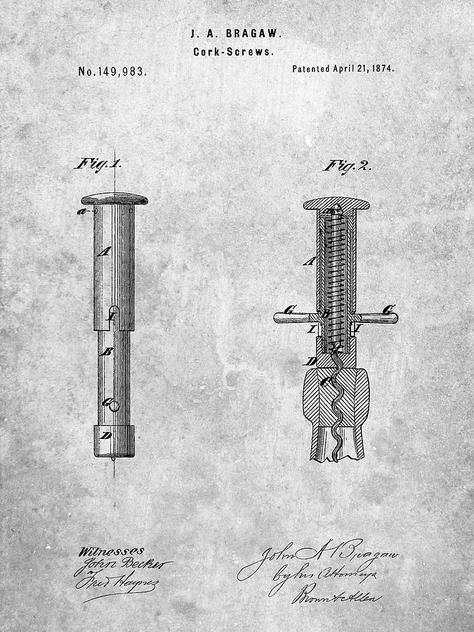 Planning Digital Art - Pp203- Corkscrew 1874 Patent Poster by Cole Borders