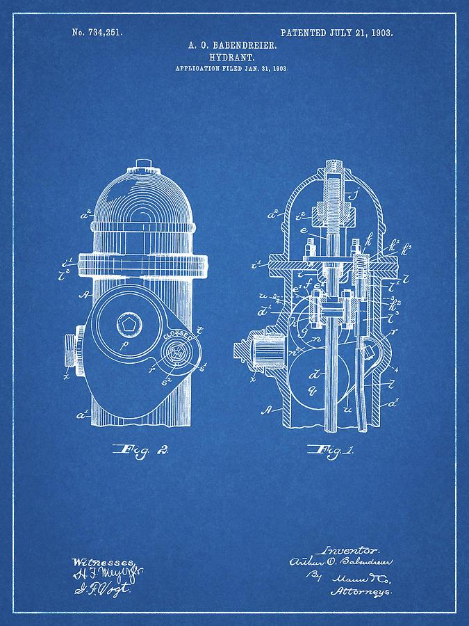 Fire Hydrant Patent Print Art 1903