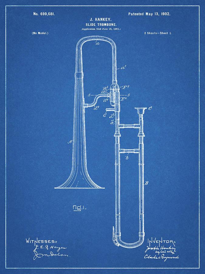 Trombone Digital Art - Pp261-blueprint Slide Trombone Patent Poster by Cole Borders