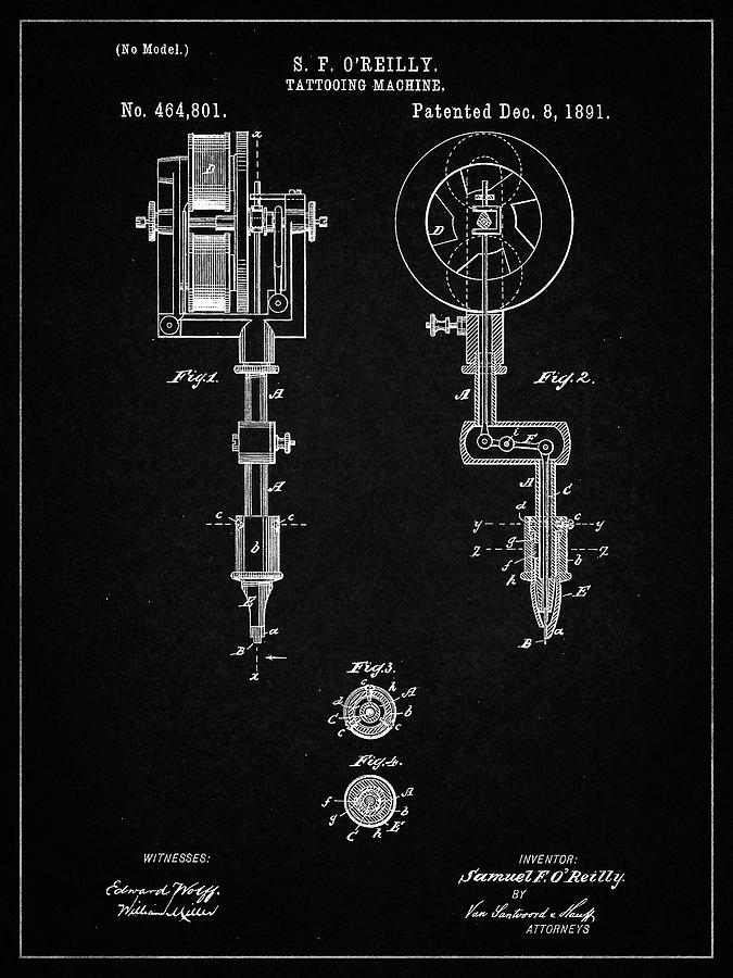 Tattoo Digital Art - Pp308-vintage Black Tattooing Machine Patent Poster by Cole Borders