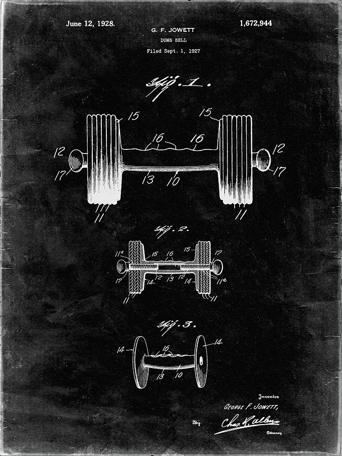 Weightlifting Digital Art - Pp314-black Grunge Dumbbell Patent Poster by Cole Borders