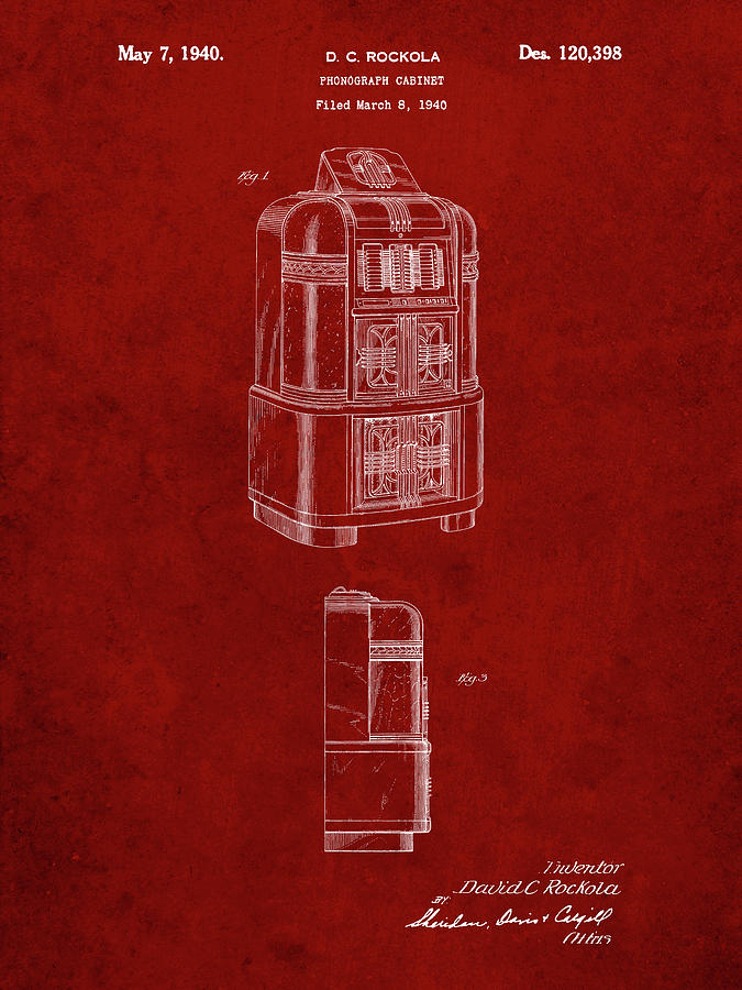 Objects Digital Art - Pp347-burgundy Jukebox Patent Poster by Cole Borders
