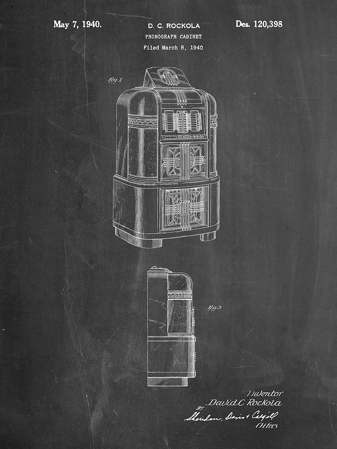 Objects Digital Art - Pp347-chalkboard Jukebox Patent Poster by Cole Borders