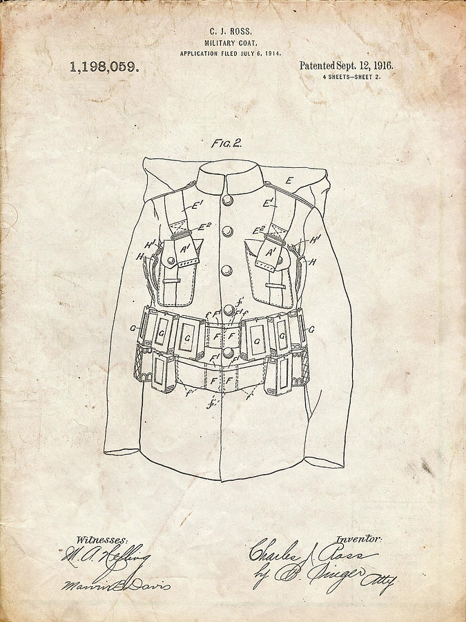Objects Digital Art - Pp465-vintage Parchment World War 1 Military Coat Patent Poster by Cole Borders