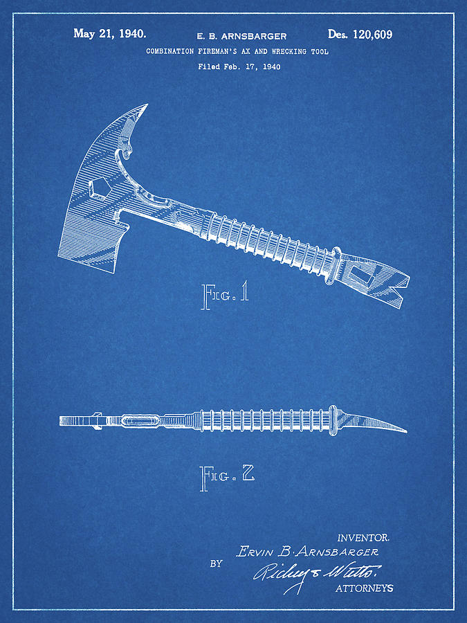 Size and Frame Options Firefighter Emergency Axe Wrecking Tool Patent Art Print