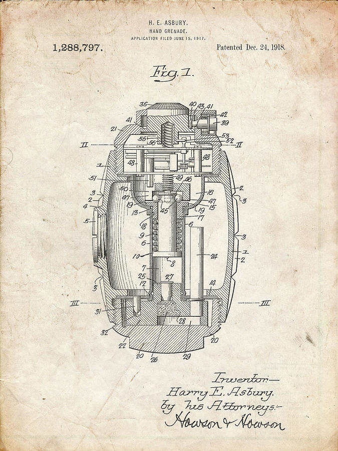 Hand Grenade Digital Art - Pp868-vintage Parchment Hand Grenade World War 1 Patent Poster by Cole Borders