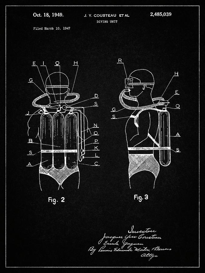 Jacques Cousteau Scuba Palmes Verni Art Imprimé Prêt À Cadre Fin Cadre Me