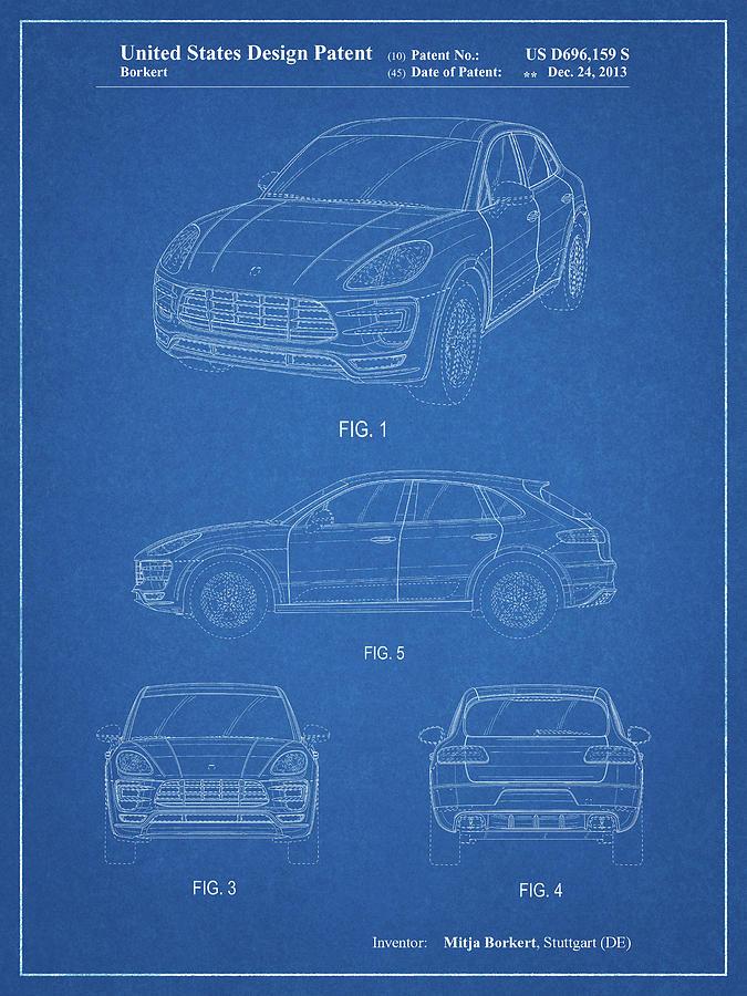 Porsche Decor Digital Art - Pp995-blueprint Porsche Cayenne Patent Poster by Cole Borders