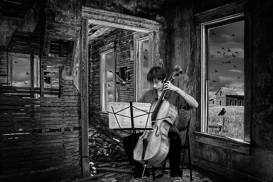 Practicing among the Ruins in Black and White. A Cello Player pl by Randall Nyhof