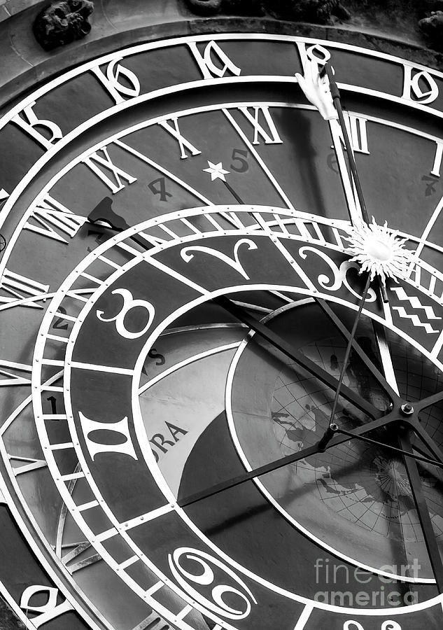 Prague Astronomical Clock Photograph - Prague Astronomical Clock In Old Town Square by John Rizzuto