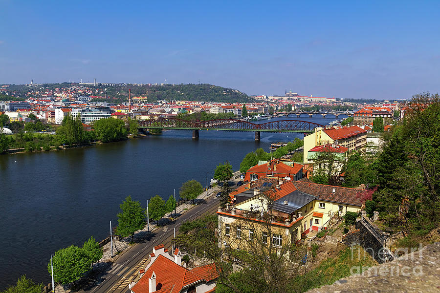 Prague Bridges Over Vltava by Les Palenik