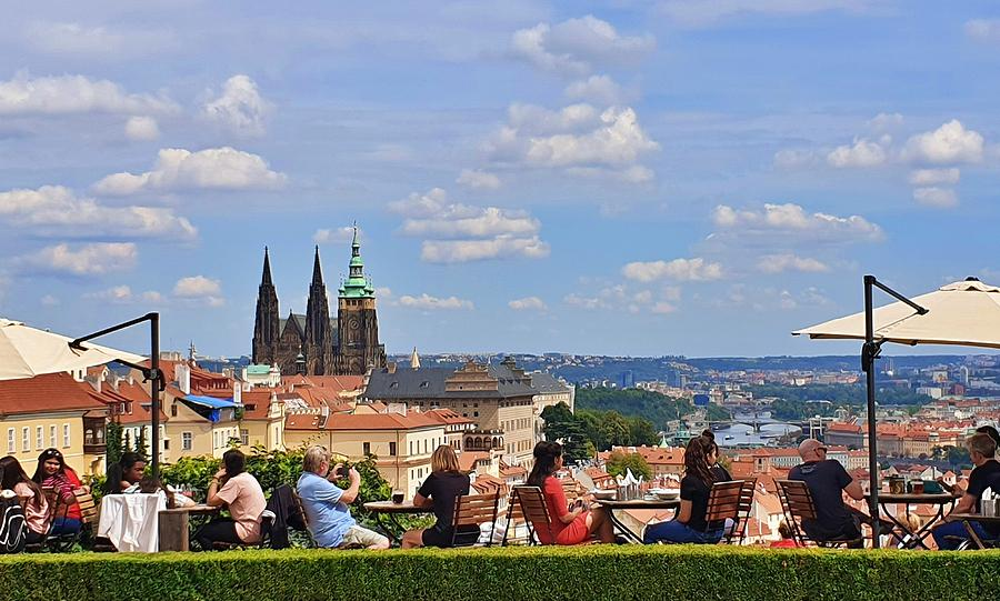 Prague Cafe With a View by Andrea Whitaker