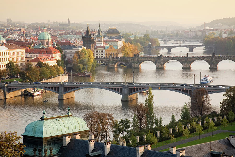 Prague Cityscape With The Vltava River Photograph by Uyen Le