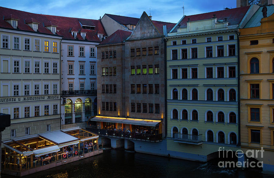 Prague Restaurants near Charles Bridge At Night by Les Palenik
