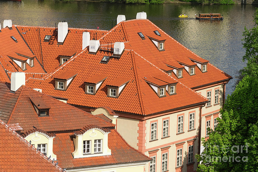 Prague Roofs With Dormer Windows by Les Palenik