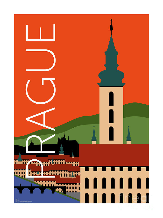Prague Spires Orange by Sam Brennan