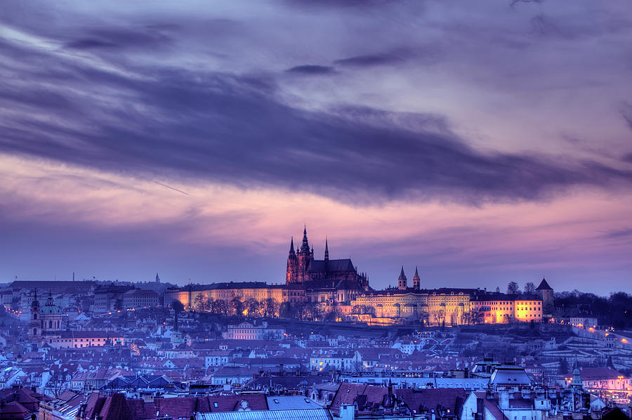 Prague Twilight View Of Hradcany Castle Photograph by Aleksandargeorgiev