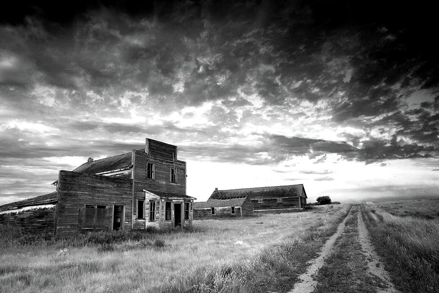 Prairie Ghost Town In Black And White Photograph by Imaginegolf