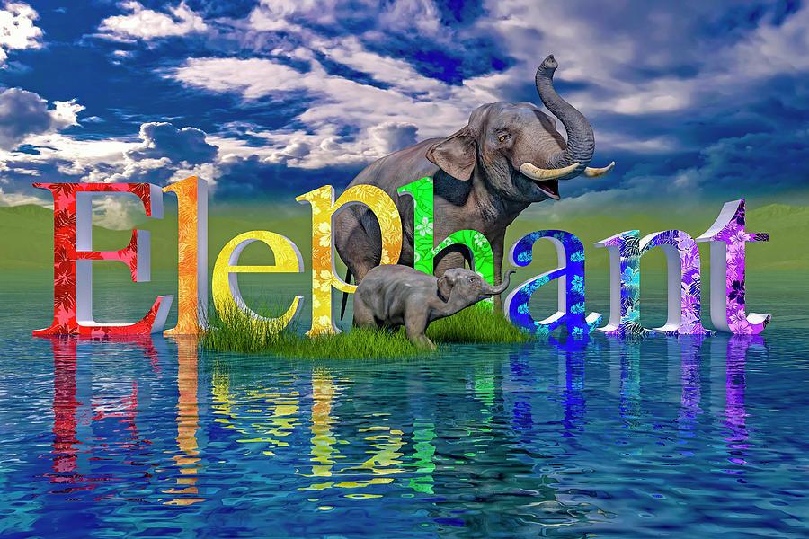 Elephant Digital Art - Precious E Is For Elephant by Betsy Knapp