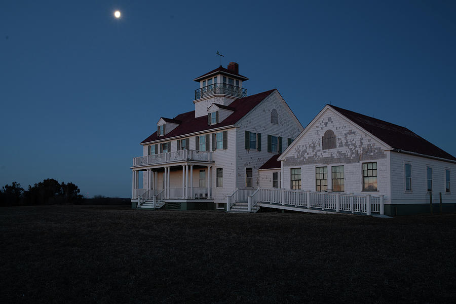 Predawn Moon over Coast Guard Beach on Cape Cod by Kyle Lee