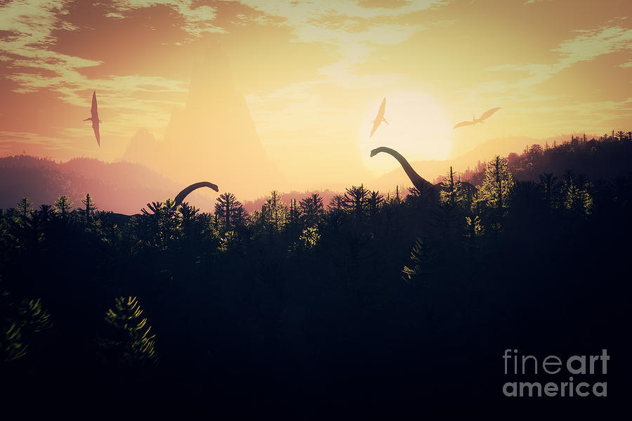 Magic Digital Art - Prehistoric Jungle With Dinosaurs In by Boscorelli