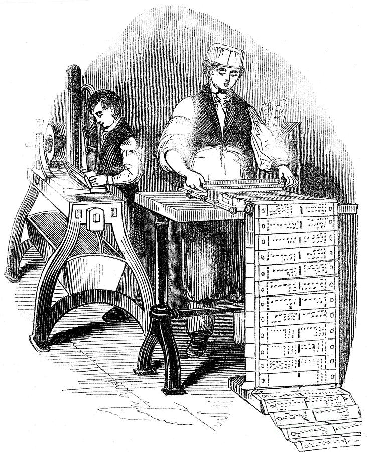 Preparing Punched Cards For A Jacquard Drawing by Print Collector