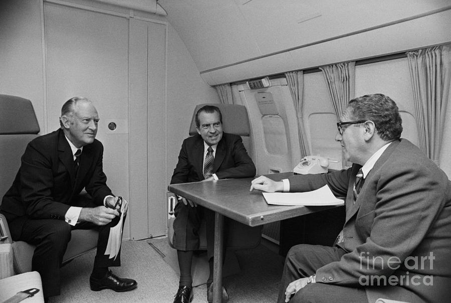 Pres. Nixon Aboard Air Force One Photograph by Bettmann