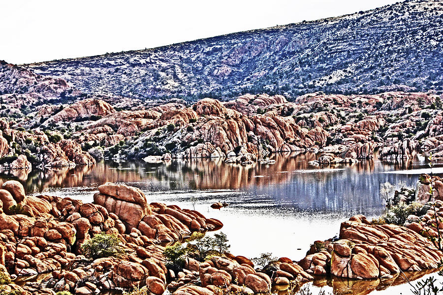 Prescott Arizona Watson Lake Rocks, Hills Water Sky Clouds 3122019 4867 Photograph by David Frederick