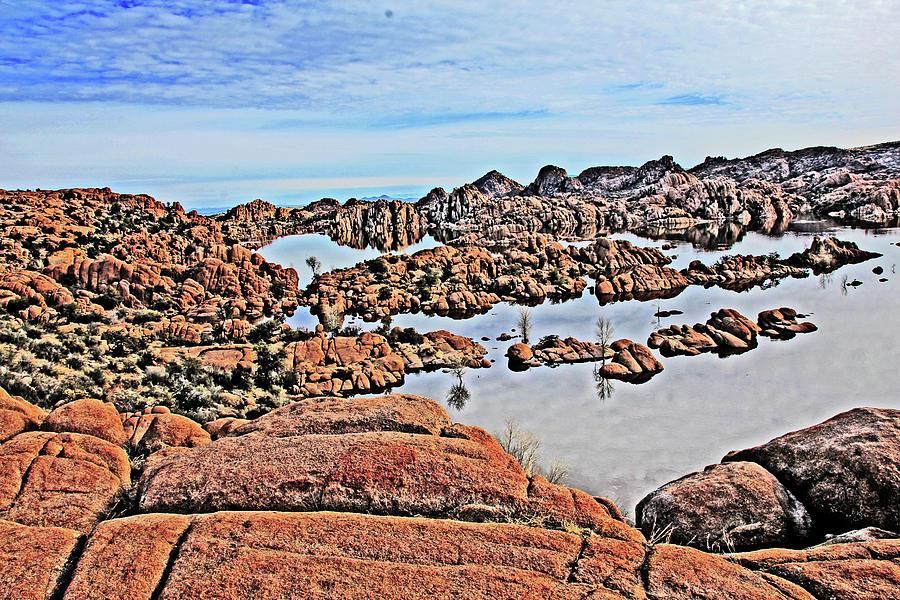 Prescott Arizona Watson Lake Rocks, Hills Water Sky Clouds 3122019 4870 Photograph by David Frederick