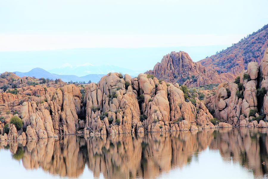 Prescott Arizona Watson Lake Water Mountains Lake Rocks Sky Reflections 4835 Photograph by David Frederick