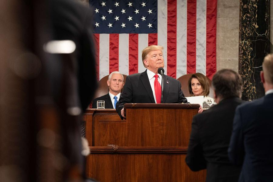 President Painting - President Donald J. Trump Delivers His State Of The Union Address At The U.s. Capitol 2 by Celestial Images