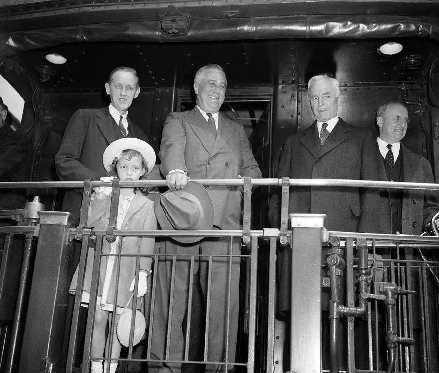 Fdr Photograph - President Franklin Roosevelt Standing On Train - 1939 by War Is Hell Store
