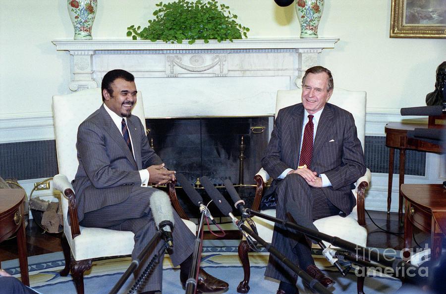 President George Bush Sr. And Prince Photograph by Bettmann