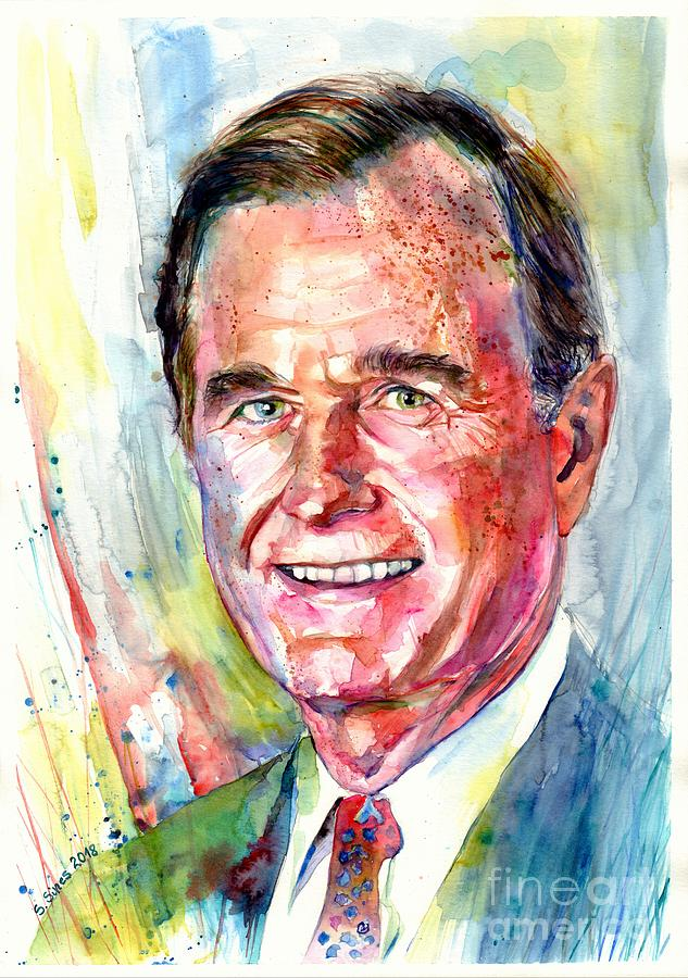 President George H W Bush Portrait Painting By Suzann Sines
