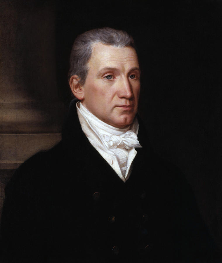 James Monroe Painting - President James Monroe Portrait - John Vanderlyn - 1816 by War Is Hell Store